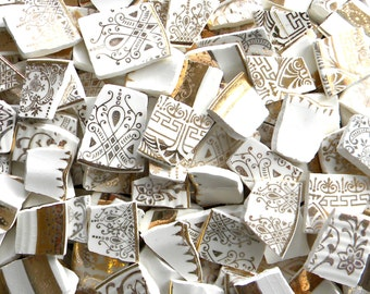 Huge Assortment of Cottage Chic Mosaic China Tiles - Gold - Whites - Embossed 200 Plus Tiles