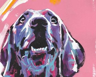 "Weimaraner art print of painting pop dog art modern portrait bright colors 8.5x11"""