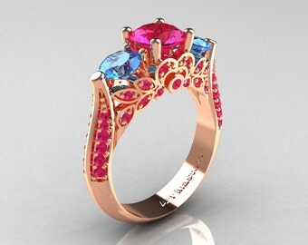 Classic 14K Rose Gold Three Stone Blue Topaz Pink Sapphire Solitaire Ring R200-14KRGBTPS