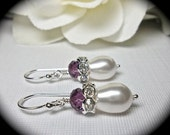Pearl Earrings - Amethyst Crystals - Sterling Silver - French ear wires - Bridal jewelry - Bridesmaids - gift -