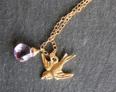 RESERVED for Julia Sukhareva: Amalfi Briolette with extra T Initial. Gold Sparrow and Amethyst Gem Necklace.