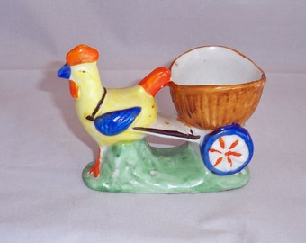 ADDITIONAL 10% OFF...SALE  Occupied Japan Rooster with Cart Toothpick or Small Planter