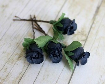 Navy Blue Rosebuds Hair Pins. Flower Hair Clip. Bridesmaids. Rustic Wedding. Woodland. Hair Accessories, Spring, Bridal,  Wedding.