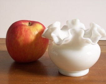 Ruffled Milk Glass Small Vase by Fenton