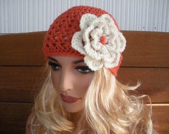 Womens Hat Crochet Hat Winter Fashion Accessories Women Beanie Hat Cloche in Coral with Beige Crochet Flower by creationsbyellyn