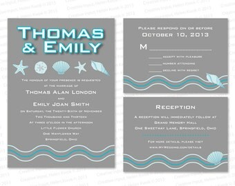 Ocean, Treasures - Printable Wedding Invitation, DIY Print-at-home Set