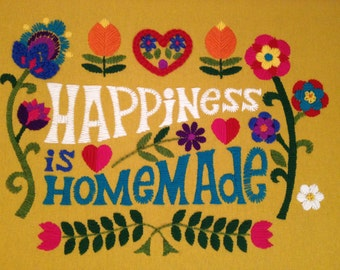 Vintage Inspired Crewel Kit for Happiness Is Homemade Wall Hanging