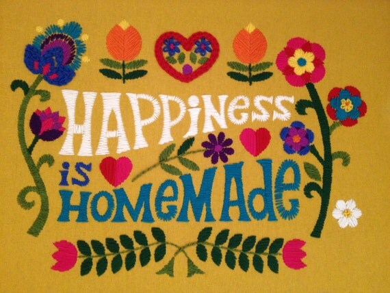 Happiness is Homemade embroidery kit by Betty Crafter