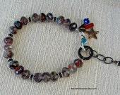Mixed Metal and Czech Fire Polished Glass Bracelet, Comic Book Hero Bracelet