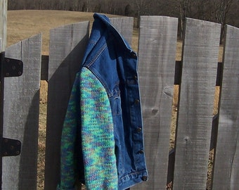 Denim Jacket Sweater Sleeves Women's Size 12/14 Green Blue Pink Bust Size 42 Upcycled Jacket Ready to Ship