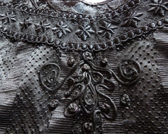 Victorian silk lace blouse jacket Antique French silk jacket w handmade lace 1800s gothic steampunk clothing goth vestment made in France