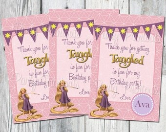 Tangled Favor Bag Tags, Printable, Rapunzel Birthday Party Thank You cards for Gift Bags, Printables Available