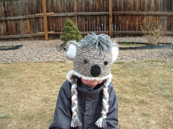 Earflap Koala Bear Hat with Fuzzy Ears  Boy or Girl .--- READY TO SHIP --- ( 3 - 6 years )