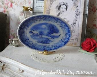 Blue Winter's Eve Large Platter for Dollhouse