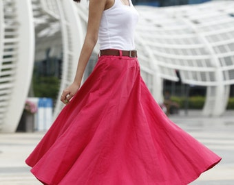 On Sale Size M Romantic Maxi Skirt Long Linen Skirt In Rose Red - NC456-2