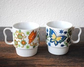 Retro Butterfly Mug Cup Set, Colorful Flower Trigger Handle Coffee Cups, 1960s Japan
