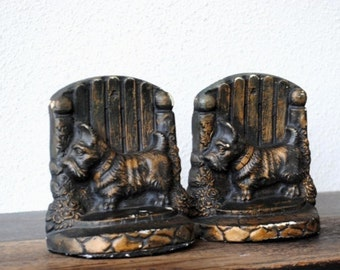 Vintage Scottie Dog Bookends, Black & Gold Chalkware Plaster Office Decor Collectible Set