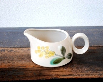 "Mid Century Noritake China ""May Song"" Dinnerware Gravy Boat, Yellow Teal Flower Sauce Dish, RARE Pottery Stoneware Vintage Tableware"