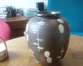 Vintage - Vase  from the 50ies - Ceramic- Handmade and Handpainted