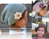 Crochet Slouch Beanie- CROCHET PATTERN- Baby slouchy beanie with flower