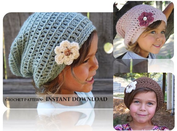 Crochet Slouchy Hat Pattern For Child : Items similar to Crochet Slouch Beanie- CROCHET PATTERN ...