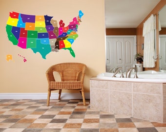 EXTRA LARGE USA North America United States Map Of All 52 States School Vinyl Wall Decal 60x40  larg469