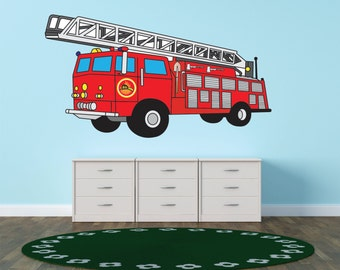 LARGE Red Firetruck Childrens Boys Childrens Kids Boys Bedroom Picture Art Peel & Stick Sticker Vinyl Wall Decal 15x26 Color133