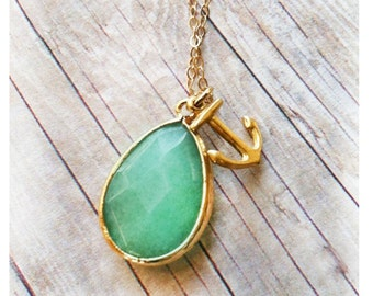 Anchor Jewelry Jade Jewelry Necklace Gift Bridesmaid Gift Anchor Necklace Bridal Jewelry Bridesmaid Necklace Wedding Party Limonbijoux