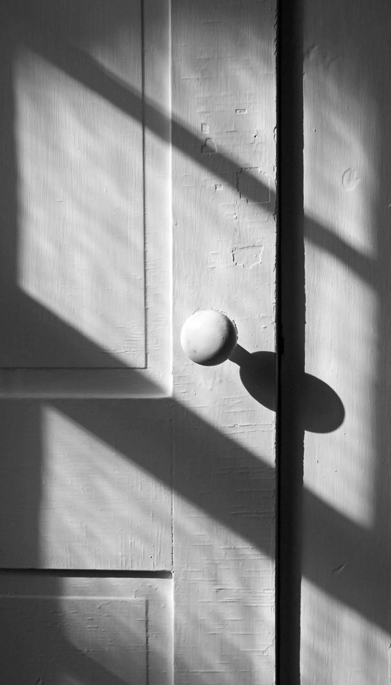 Afternoon Shadows - Fine Art Photo - Black and White Antique Door - BrookeRyanPhoto