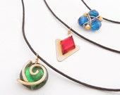 Zelda Ocarina of Time Spiritual Stone Necklace Set, Black Cord, All Three Spiritual Stones