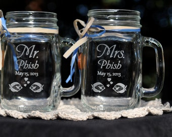 Tropical Wedding Mason Jars Personalized Mr and Mrs with choice of fonts and handle direction