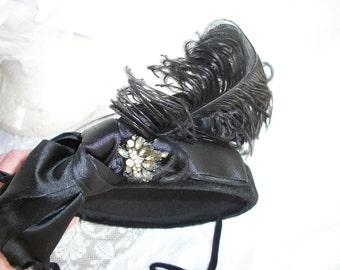 Vintage Fascinator Hat - Black - Feathers - French - Paris - Topper - Rhinestones