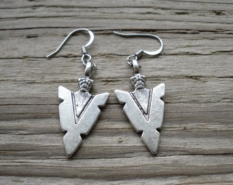 Large Antique Silver Arrowhead Charm Earrings - Surgical Steel
