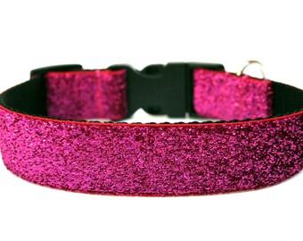 """Hot Pink Dog Collar 1"""" Pink Glitter Dog Collar"""