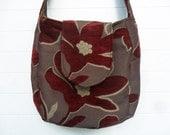 Boho Bag Purse Burgundy Floral Cut Chenille