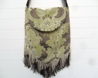 Bohemian Gypsy Purse Bag Vintage Fringe Ivory Chenille