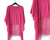 Reduced: Fushia Pink  PETTI La BELLE Fringed Poncho- Relaxed design - Silk Knit Top-Free Size
