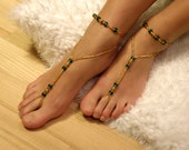 Egyptian Style Barefoot Sandals in Golden and Emerald