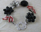Vintage Earring Bracelet OH, SO NICE (Black, Silver, Red)