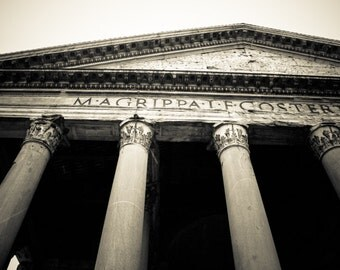 Rome Italy - Architecture - Black and White - Sepia - Fine Art Photograph - Pantheon Exterior