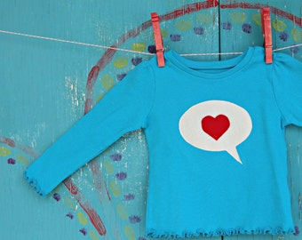 Girls Valentine's Tshirt, Dialogue Heart Tee, Baby18 month, Speech Bubble