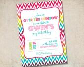Over the rainbow custom birthday invitation