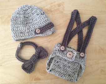 Little Man Newsboy Hat 3 pc Diaper Cover Set w/Suspenders and Bow Tie in Oatmeal & Taupe, Photography Prop - MADE TO ORDER