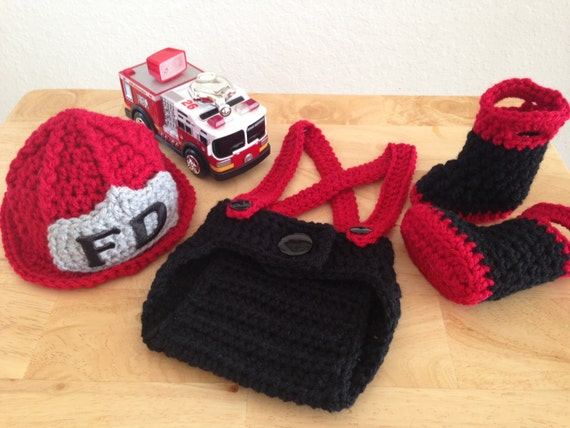 Baby Firefighter Fireman Hat Outfit 4 pc by CarynsYarnBasket