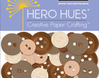 SALE Hero Arts Earth buttons CH262, brown, cream, white RETIRED