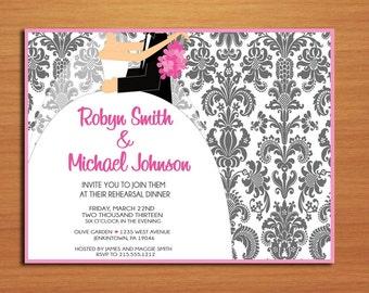 Bride and Groom Damask / Wedding Rehearsal Dinner Party Invitation Cards PRINTABLE DIY