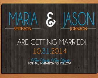 Rustic Woodgrain Typography Wedding Save the Date PRINTABLE / DIY
