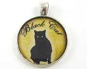 Black Cat Pendant - Black Gold Silver Pet Jewelry Charm