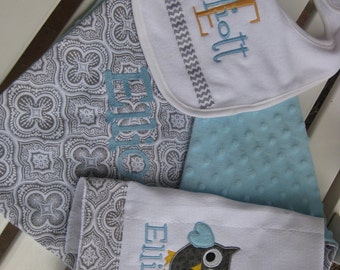 Baby gift set for girls or boys- choose your colors- personalized FREE