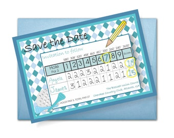 Save the Date Score Card, 4.25x6 Save the Date Golf Card